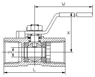 一片式内螺纹球阀 结构图