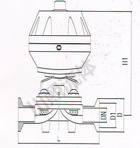 卫生级盖米气动隔膜阀尺寸图