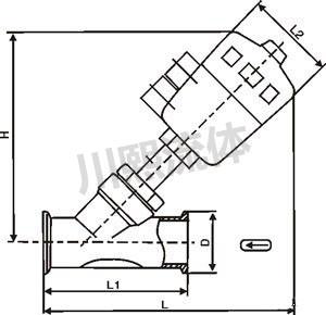 气动卫生级角座阀尺寸图